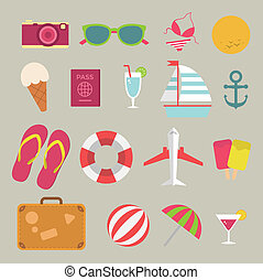 Summer flat icon set on the beach