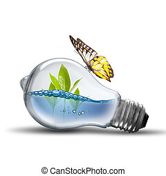 LightBulb With Water Inside on white background
