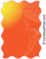 Hawaiian Background - Swirly flowers on a bright orange and...