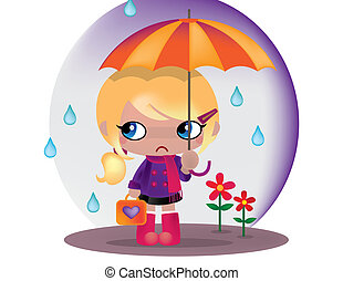 May Flowers - A light rain hits a cute young girls umbrella.
