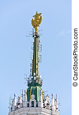 Star on the spire of skyscrape - Yellow star that it was...
