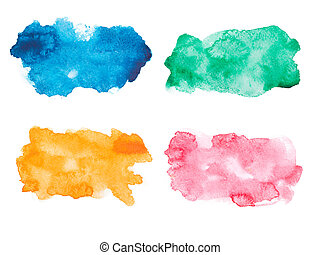 Abstract watercolor aquarelle hand drawn colorful drop...