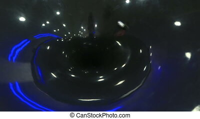 Model of a black hole in space. Novosibirsk planetarium.
