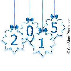 Happy new year in hanging paper snowflakes with bows