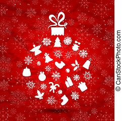 Abstract ball made in Christmas elements, snowflakes texture