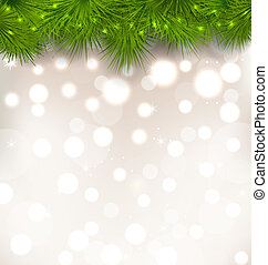 Christmas light background with realistic fir twigs