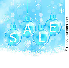 Christmas background with balls lettering sale -...