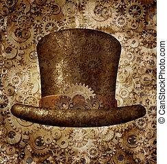 Steampunk, cima, sombrero
