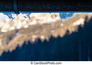Frosty gutter - close up shot of some icicles hanging from...