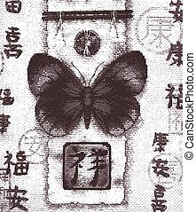 butterfly oriental background