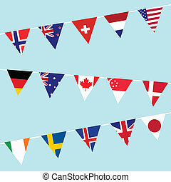Bunting with flags of the most developed countries in the World