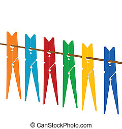 Clothes pegs on a rope