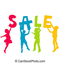 Children silhouettes holding letters with message SALE in the ha
