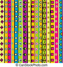 Doodle background with stripes and geometrical shapes