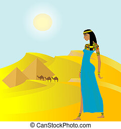 Egyptian background with ancient woman and pyramids