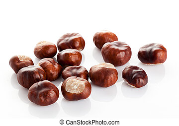 Chestnut on white background. ripe chestnuts - Chestnut on...