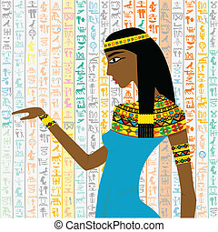 Ancient Egyptian woman over a background with Egyptian...