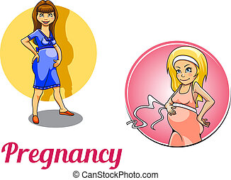 Two pregnancy woman characters depicting a pregnant woman...