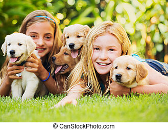 Young Girls with Baby Puppies - Adorable Cute Young Girls...
