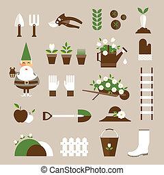 Garden icons - Vector flat garden icons cute modern style