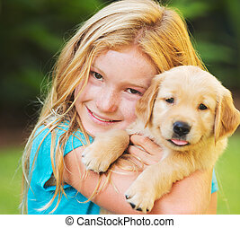 Girl with Puppy - Adorable Cute Young Girl with Golden...