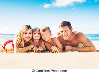 Family of Four on Tropical Beach - Happy Family of Four on...