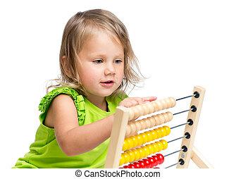 criança, tocando, ábaco