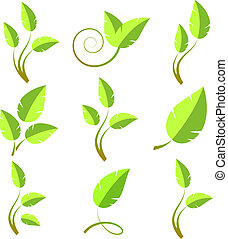 Branch icon set, isolated on white, vector, eps 8 format