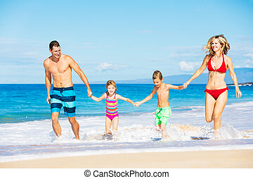 Happy Family at the Beach - Happy Family Running and Playing...