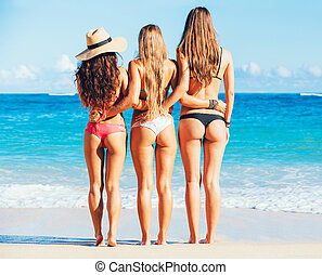 Three Girls in Sexy Bikinis on the Beach - Beautiful Sexy...