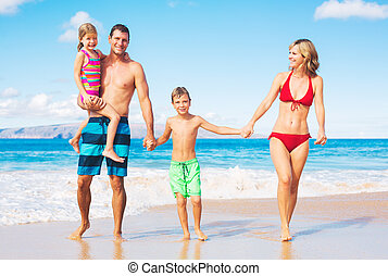 Happy Family at the Beach - Happy Family on the Beach