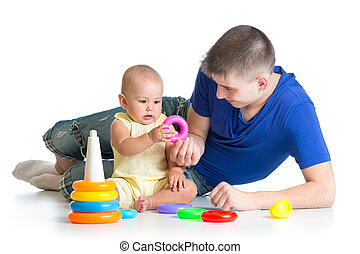 happy baby and dad play together