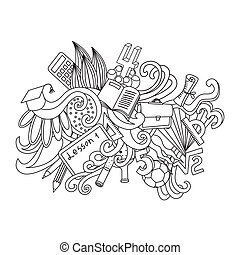 Vector decorative doodles design card. Back to school