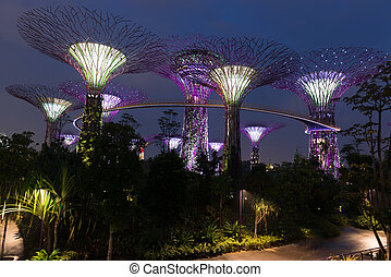 Night illumination in Gardens by the Bay, Singapore -...