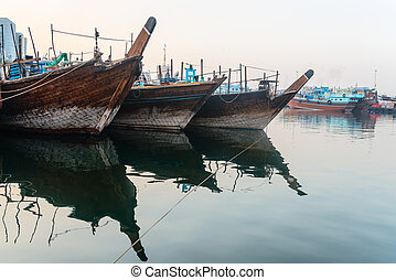 Traditional arabic dhows wooden boats - Traditional dhows...
