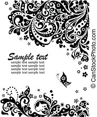 Floral banner black and white - Greeting banner black and...