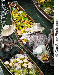 floating market - Traditional floating market , Thailand
