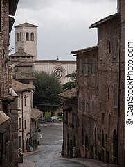 Assisi,Italy - View of San Pietro Church in Assisi in Italy