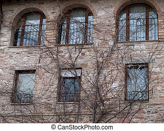 Assisi,Italy - The facade of the flat building with leafless...