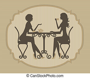 two beautiful girls talking - Silhouette of two beautiful...
