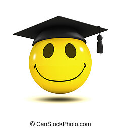 3d Smiley graduate - 3d render of a smiley wearing a mortar...