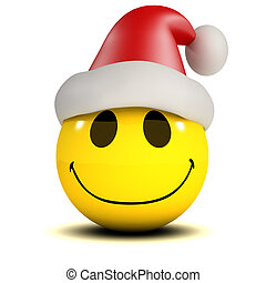 3d Smiley Santa - 3d render of a smiley wearing a Santa...
