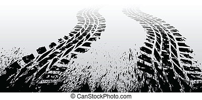 Grunge tire track - Black tire track on gray background...
