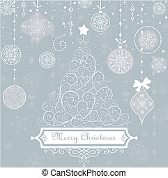 Vintage christmas blue card
