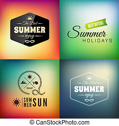 Retro styled summer calligraphic design card set, vintage...