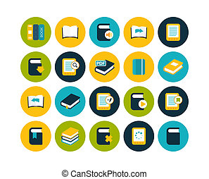 Flat icons set 21 - Flat icons vector set 21 - book...