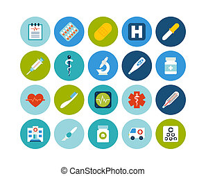 Flat icons set 18 - Flat icons vector set 18 - medical...