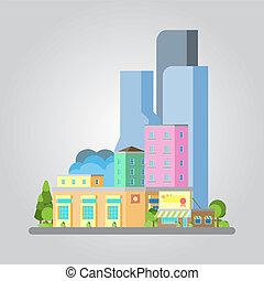 現代, 平ら, デザイン, 都市の景観, イラスト