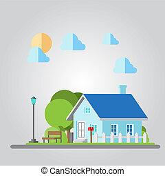 Flat design countryside house illustration