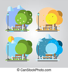 Flat design four seasons park illustration vector EPS10
